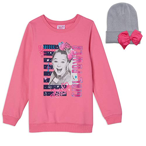 JoJo Siwa Little Girls Fashion Bow Long Sleeve Sweater & Hat Set Pink 5