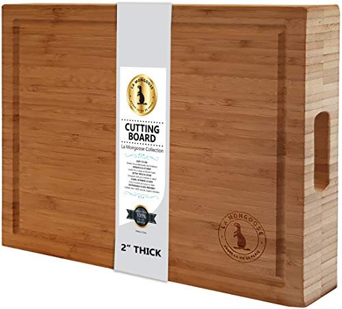 "17 x 13 x 2"" Extra-Large XL Bamboo Wood Cutting Board with Juice Groove & Hand Grips. Multipurpose XL Thick Reversible Butcher Block Chopping Carving Serving Platter Tray. Birthday Wedding Gift Idea"