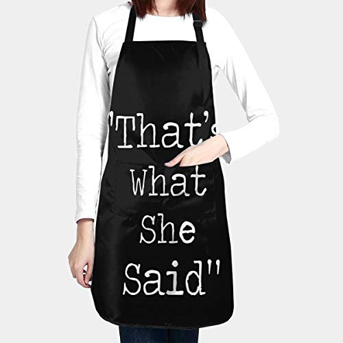 BAIFUMEN Thats What She Said Adjustable Bib Apron Waterdrop Resistant with Pockets Cooking Kitchen Aprons for Women Men Chef 33 x 28 Inches