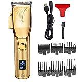 GGOOD De Cortar el Pelo eléctrico Barba Trimmer Set máquina de Afeitar el Pelo USB Recargable Impermeable Herramienta de peluquería y estética Kit Hombres de Oro