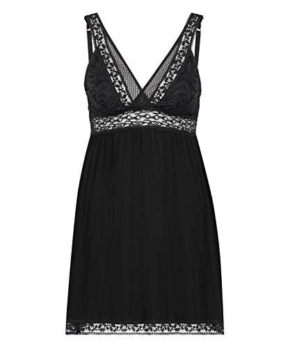 HUNKEMÖLLER Damen Kurzes Slipdress Graphic aus Jersey mit Spitze Schwarz 2XS