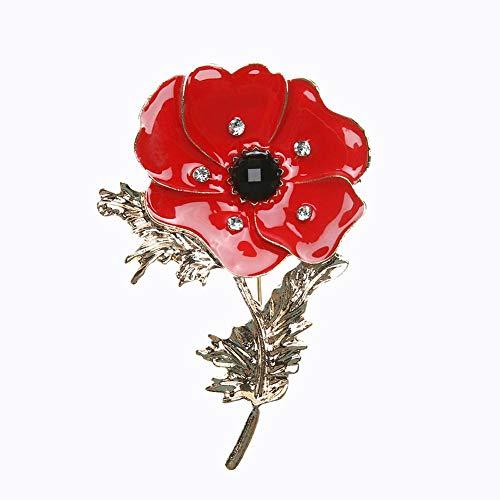 Piner Elegante Broche Rode Papaver Bloem Corsage Mode Olieverf Broche Dame Kleding Decoratie Emaille