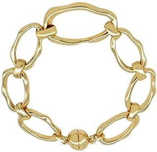 CHOICES Gold Bracelet | Graduated Irregular Oval Big Link Chain | Magnetic Clasp Bracelet | Gold Bracelets for Women