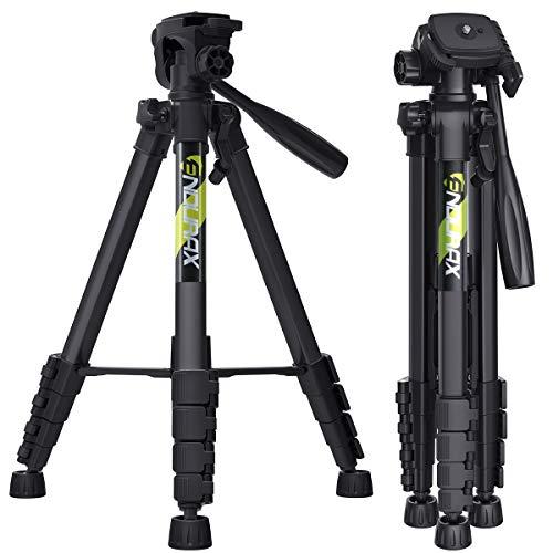 Endurax 167 cm / 66 inches Video Kamera Stativ für Canon Nikon Leichte Aluminium Reise DSLR Kameraständer mit Universal Phone Mount und Tragetasche von Endurax