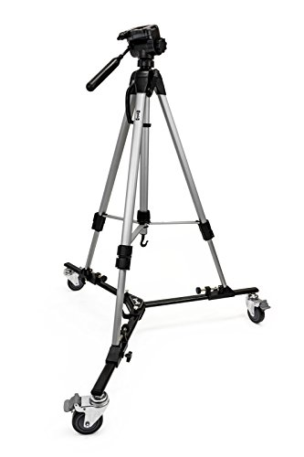 """Opteka M3 Professional Heavy Duty Folding Tripod Dolly with Case and 70"""" Tripod for Photo and Video Cameras"""