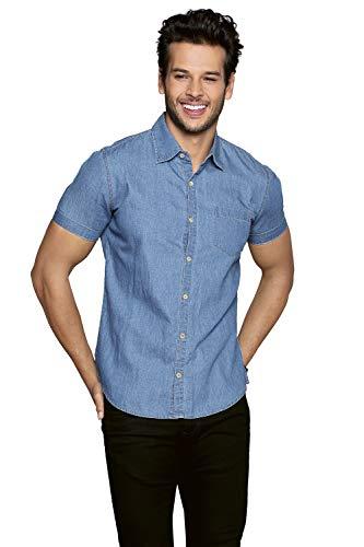 Aditivo Camisa de Mezclilla para Hombre, cómoda y Casual. (EG)