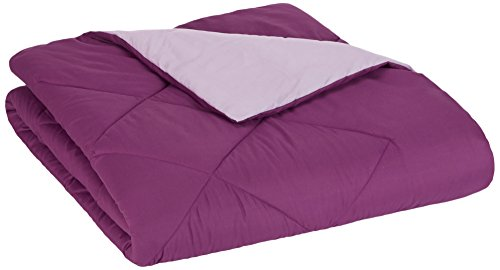 AmazonBasics Reversible Microfiber Bed Comforter, Twin / Twin XL, Plum / Light Purple