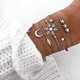 Simsly Lot de 5 bracelets en perles et croissant de lune multicouche pour femme et fille Argenté