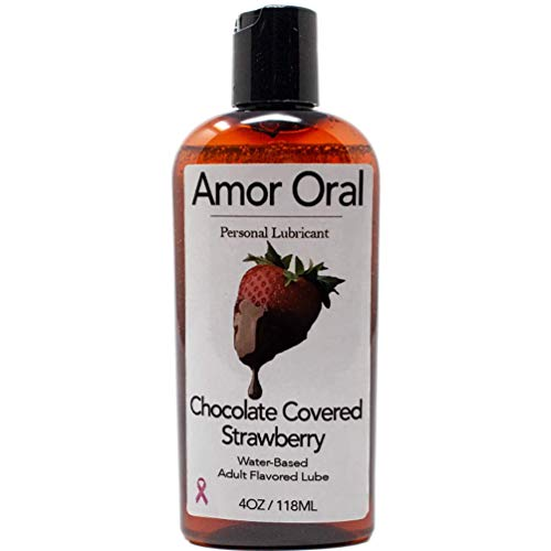 Amor Oral Chocolate Covered Strawberry Flavored Lube, Body Safe, Edible.