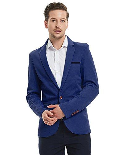 Pishon Men's Slim Fit Suits Casual One Button Flap Pockets Solid Blazer Jacket, Dark Blue, Tag Size 3XL=US Size M
