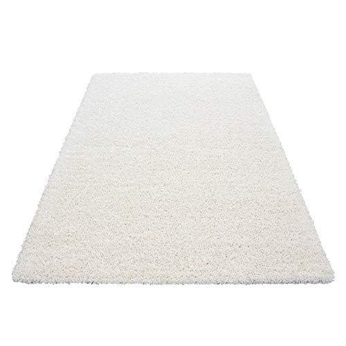 Hochflor Shaggy Teppich für Wohnzimmer Langflor Pflegeleicht Schadsstof geprüft 3 cm Florhöhe Oeko Tex Standarts Teppich, Maße:160x230 cm, Farbe:Creme