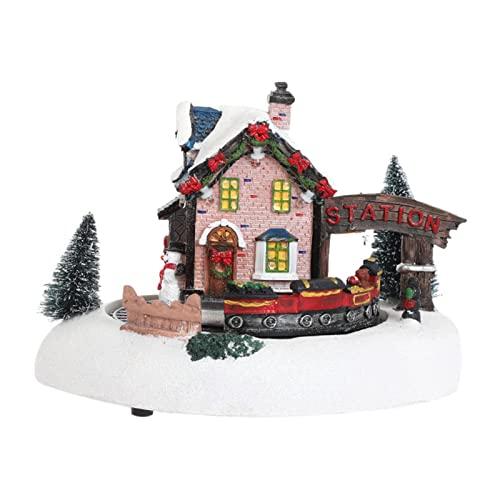 Gujugm Set del Villaggio di Natale, Stazione ferroviaria della Neve illuminata a LED Ben Fatta, con Alberi di Natale, binari ferroviari realistici e Treni in Corsa