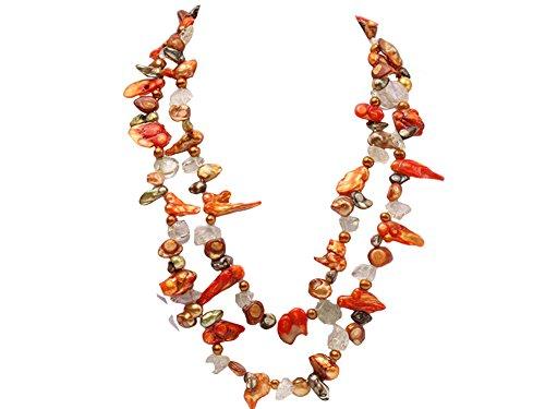 jyx 5 x 20 Multicolor biwa-shaped Perle und Kristall Halskette