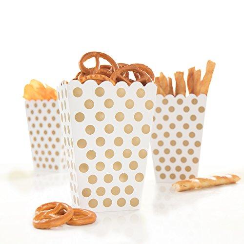 24x Snackbox Popcorn Tüte Happy Dots weiß mit goldenen Punkten - wunderschöne Boxen mit Punkten perfekt für Snacks, Süßigkeiten & Geschenke