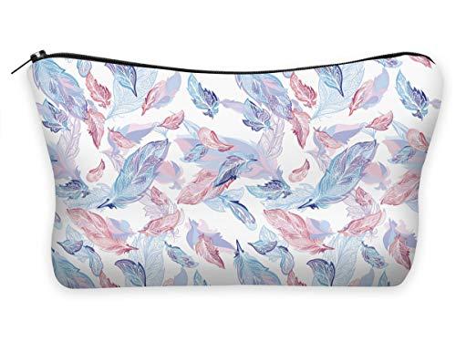 Federmäppchen Kosmetiktasche Federtasche Stiftemappe Make Up Täschchen Full Print All Over Bag Bunte Feathers Gefieder [009]