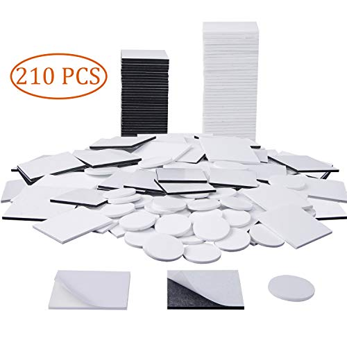 UPINS 210 Pack Double Sided Square Foam Tape Round Strong Pad Mounting Adhesive Tape (White+Black)