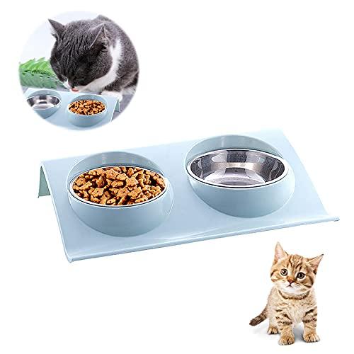 Cuencos para Mascotas, Tazón para Mascotas, Cuenco del Gato, Tazón Gatos, Cuenco Doble para Gatos, Acero Inoxidable Gatos Tazón, para Mascotas, Perros, Gatos, Alimentación y Agua