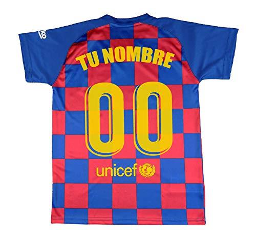 FCB Camiseta Primera Equipación Adulto Personalizable del FC Barcelona Producto Oficial Licenciado Temporada 2019-2020 Color Azulgrana (Azulgrana, Talla L)