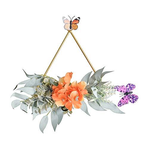Guirnalda geométrica de metal para decoración del hogar, diseño de hortensias Triángulo Hortensia Naranja