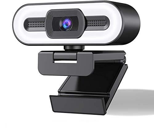 MELKEVDY Webcam 1080P, Webcam per PC con Luce Ad Anello A 3 Colori E Microfono Stereo, per Streaming, Autofocus, Plug And Play, Adatta per Riunioni, Corsi Online, Videochiamate E Giochi