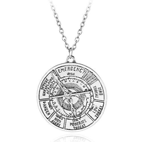 Fnito Collar Collar de Nivel de Amenaza de exposición mágica Charm Retro Silver Compass Colgante Collar para Mujeres y Hombres Accesorio de Moda