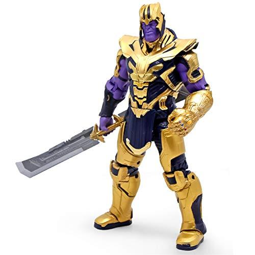 YALIXING Marvel Avengers Ultimate Battle Thanos Cuchillo de Doble Filo Guantes infinitos Modelo Hecho a Mano Juguetes Figura de lron Spiderman