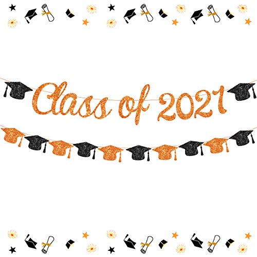 Clase de 2021 Banner Naranja 2021 Decoración de graduación Naranja y Negro Casquillo de soltero Guirnalda para Felicidades Grad Fiesta Suministros Graduación Tema Decoración