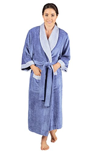 Women's Terry Cloth Bath Robe - Luxury Comfy Robes by Texere (Sitkimono, Kashmir Blue, Small/Medium) Special WB0102-KHB-SM