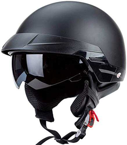 SJAPEX Medio Casco de Motocicleta para Dot Aprobado Half Face Cycling Motorbike Open Face Helmet Hombres Mujeres con Visera Solar Anti Hebilla de Liberación Rápida. B,XL=61~62cm