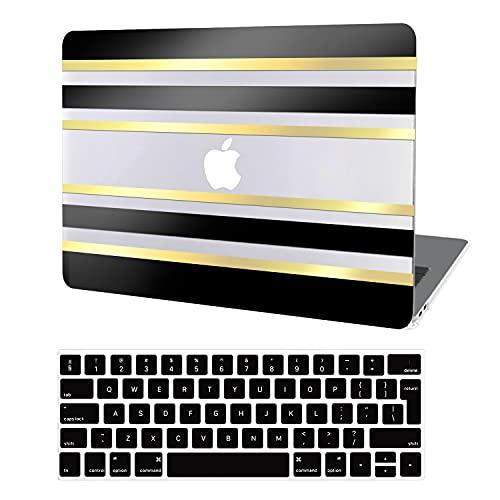 JGOO Funda para MacBook Pro 13 Pulgadas 2020-2016 Versión A2338 M1 A2289 A2251 A2159 A1989 A1706 A1708, 3D Stripes Carcasa Rígida Plástico Negro Dorado Brillante + Cubierta de Teclado para Mac Pro 13