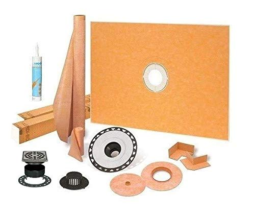 """Schluter Kerdi Shower Kit 48"""" x 72"""" Shower Tray (KSK1220/1830) with 2"""" ABS Bonding Flange, Wedi Joint Sealant and 4"""" Stainless Steel Grate"""