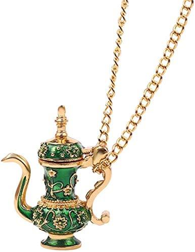 YOUZYHG co.,ltd Collar de Cadena Larga con Colgante de Tetera Flagon Collar de Esmalte Verde Joyería de Estilo gótico Regalo para Mujer