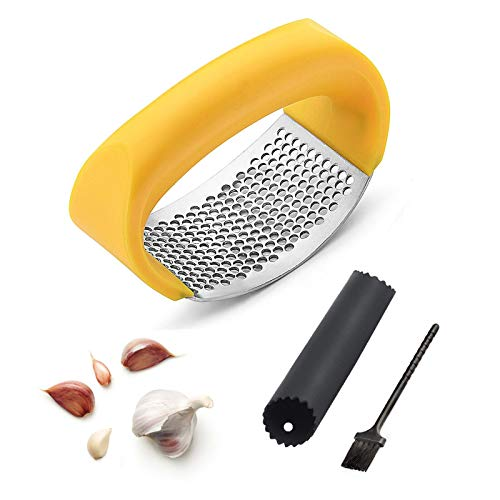 Stainless Steel Garlic Press Rocker Set, Garlic Mincer with Silicone Peeler & Clean Brush, Professional Soft-Handled Garlic Crusher With Comfortable Grip (Yellow)