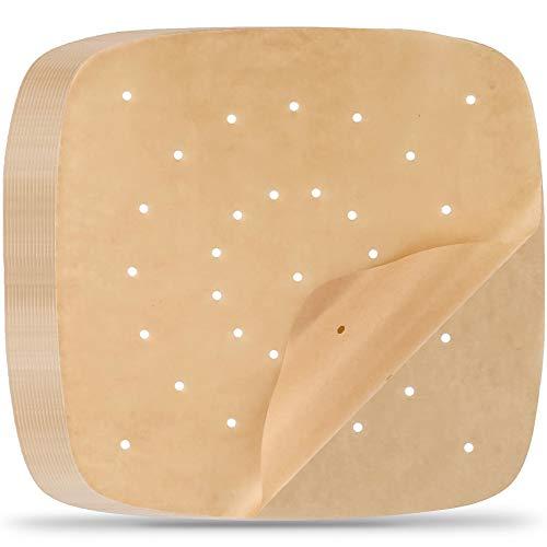 munloo 200 Stück Air-Fritteusen-Pergamentpapier, Perforiertes Pergamentpapier für Backen, Kochen, Öfen, Luftfritteuse (Natur)