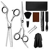 KKmeter Set forbici per capelli Set professionali da parrucchiere per donna, uomo e bambino (10 in 1 Set di forbici da barbiere)