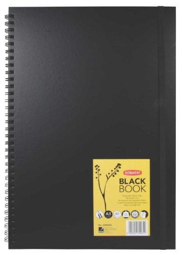 Derwent Livro preto, A3, Retrato, 29 x 41 cm, capa dura, encadernação em arame, 40 folhas pretas (2300456)