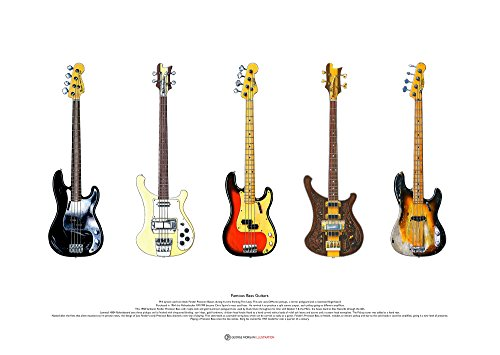 George Morgan Illustration Berühmte Bass-Gitarren #2- KUNSTPOSTER A2 Größe
