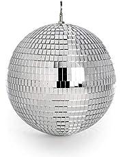Bola de discoteca espejo   Bola de brillo plateado   Luz de discoteca colgante   Para fiestas   Decoración de espejo ligero   Pukkr (30 cm)