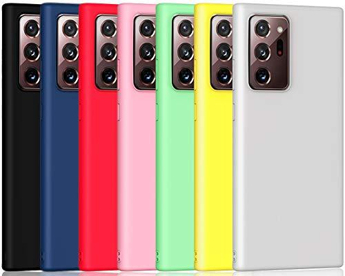 ivoler 7 x Funda para Samsung Galaxy Note 20 Ultra (5G), Ultra Fina Carcasa Silicona TPU de Alta Resistencia y Flexibilidad (Negro, Azul, Verde, Rosa, Rojo, Amarillo, Blanco)