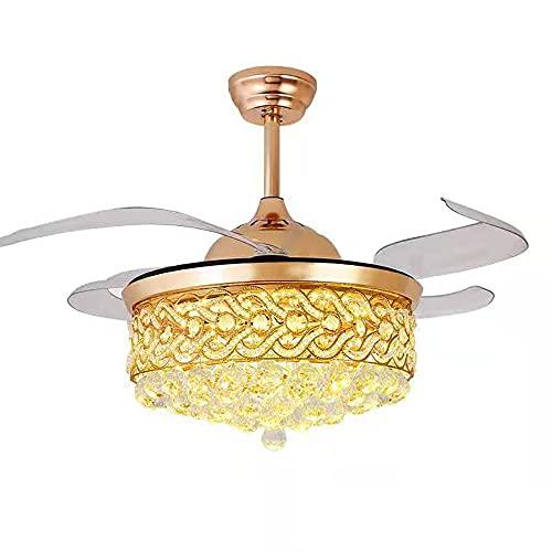 Ventilador de techo con luz, LED cristal, lujoso europeo, lámpara de techo, mando a distancia, 3 luces/3 velocidades, 4 cuchillas de ABS retráctiles, motor silencioso (42 pulgadas) (dorado)