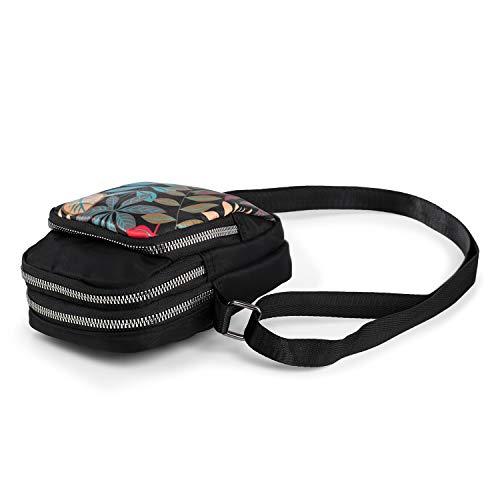 Borsa Porta Cellulare a Tracolla con 3 Tasche Donna Borsa Piccola da Foglie Colorate di Nylon Impermeabile Mini Borsetta da Telefono 5 Pollici da Viaggio