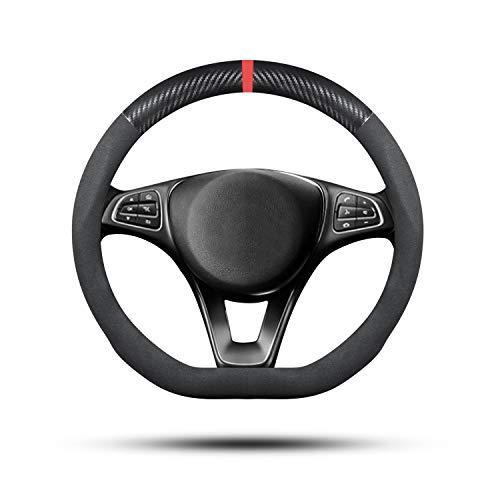Ergocar Auto Lenkradbezug Rutschfester Auto Lenkradschutz D-Form Veloursleder aus Wildleder Leder Geeignet für alle Jahreszeiten für Durchmesser 38cm (15