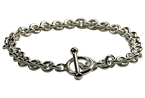 SILBERMOOS Klassisches Damen Armband mit Knebel-Verschluss massiv glänzend 925 Sterling Silber