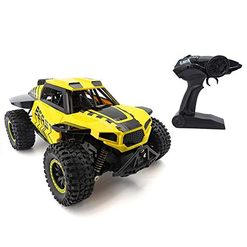 WGFGXQ Coche de Control Remoto 1:18 al Aire Libre 2.4G 2WD 30 km/H Coche RC Coche de Escalada SUV Juguete de Control Remoto eléctrico Regalo Competencia para niños Afición (Color: Amarillo)