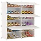 KOUSI Portable Shoe Rack Organizer 24 Pair Tower Shelf Storage Cabinet Stand Expandable for Heels, Boots, Slippers, 6 Tier White