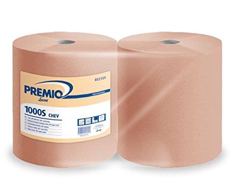 PREMIO LUCART 1000S CHEV -2 Bobines Chamois de 1000 Feuilles Certification Ecolabel 100% papier recyclé 2 épaisseurs