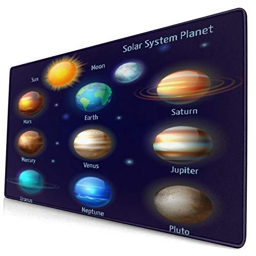 Großwild-Mauspad,Planeten des Sonnensystems und die Piktogramme der Sonne setzen astron,Rutschfester Schreibtisch-Pad-Schutz,Schreibtisch-Schreibmatte für Desktop,Computer-Laptop,15.8