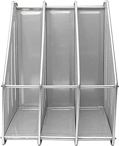 Compartimentos Revistero archivador de Malla metálica Revistero archivador triple de malla metálica Archivadores de revistas Estante para escritorio (3Archivos, Plata)