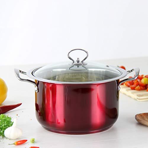 Marmite faitout en acier Lot de 4 pièces – rouge, vert, bleu, violet ou orange