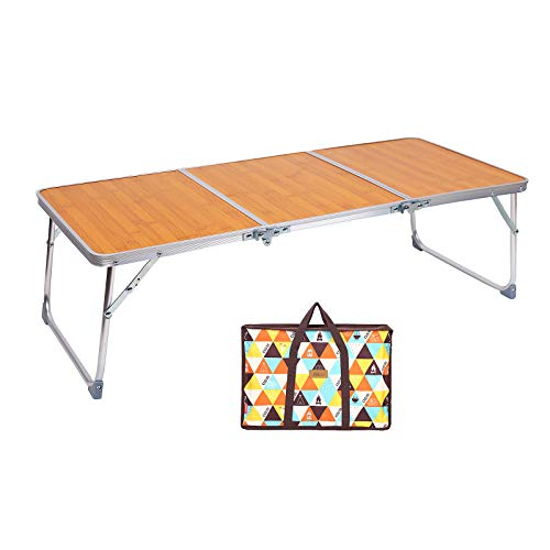 sorliva Folding Camping Table, Portable Picnic Camping Table Bed Table with Carrying Bag, 3-Fold Lightweight Folding Table for Outside Picnic Garden Cooking BBQ Fishing Beach Table